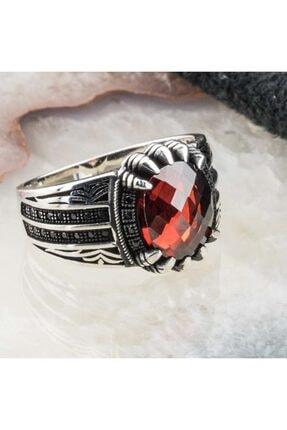 Takıhan Erkek Kırmızı Zirkon Taşlı Kartal Pençesi Gümüş Yüzük 1