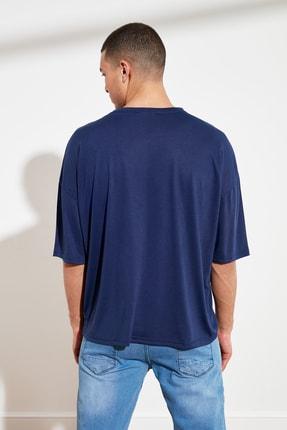 TRENDYOL MAN Lacivert Basic Erkek Oversize Bisiklet Yaka Kısa Kollu T-Shirt TMNSS21TS0811 4