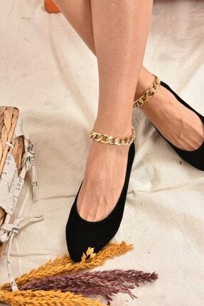 Fox Shoes Kadın Siyah Süet Zincirli  Babet K726096002 2