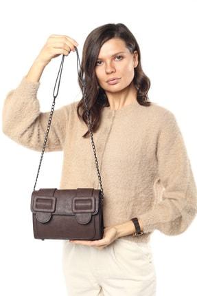 Madamra Aynı Butikte 2. Ürün 1 TL Kahverengi Süet Kadın Kemerli Kapaklı Kutu Omuz Çantası 3