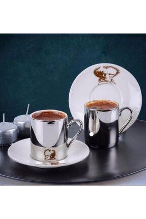 ACAR Aynalı Atatürk Desenli 6 Kişilik Kahve Fincan Takımı 10190 0
