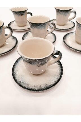 Gül Çini Takı 6 Kişilik Boncuk Mavi Seramik Kahve Fincanı Takımı 0