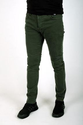 bombe Erkek Slim Fit Dar Kesim Kot Pantolon Haki Yeşil 0