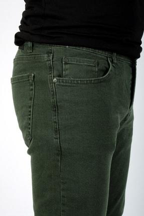 bombe Erkek Slim Fit Dar Kesim Kot Pantolon Haki Yeşil 3