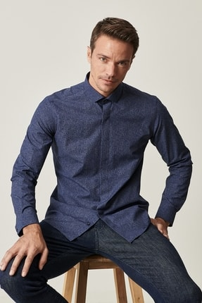 Altınyıldız Classics Erkek Lacivert Tailored Slim Fit Dar Kesim Küçük İtalyan Yaka Baskılı Gömlek 0
