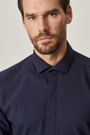 Altınyıldız Classics Erkek Lacivert Tailored Slim Fit Dar Kesim Küçük İtalyan Yaka Gömlek 3