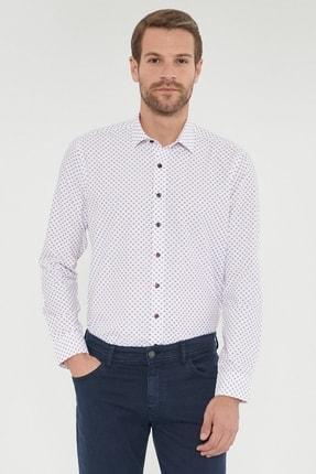 Altınyıldız Classics Erkek Bordo Tailored Slim Fit Baskılı Gömlek 1