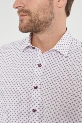 Altınyıldız Classics Erkek Bordo Tailored Slim Fit Baskılı Gömlek 4