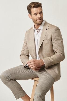 Altınyıldız Classics Erkek Vizon Slim Fit Desenli Ceket 1