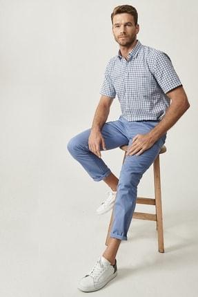 Altınyıldız Classics Erkek Mavi Kanvas Slim Fit Chino Pantolon 1