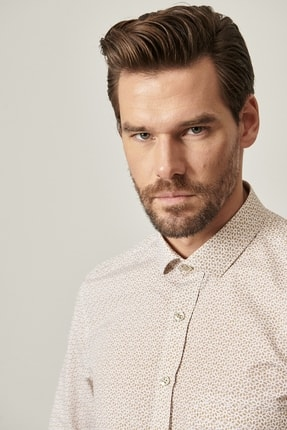 Altınyıldız Classics Erkek Bej Tailored Slim Fit Dar Kesim Küçük İtalyan Yaka Baskılı Gömlek 4