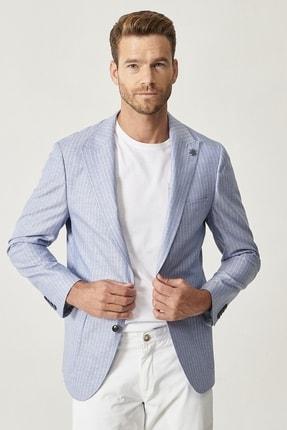 Picture of Erkek Açık Mavi Slim Fit Desenli Ceket