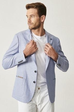 Altınyıldız Classics Erkek Açık Mavi Slim Fit Desenli Ceket 2