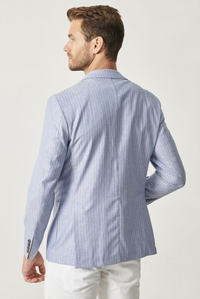 Altınyıldız Classics Erkek Açık Mavi Slim Fit Desenli Ceket 4