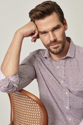 Altınyıldız Classics Erkek Bordo Tailored Slim Fit Dar Kesim Küçük Italyan Yaka Baskılı Gömlek 1