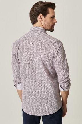Altınyıldız Classics Erkek Bordo Tailored Slim Fit Dar Kesim Küçük Italyan Yaka Baskılı Gömlek 2