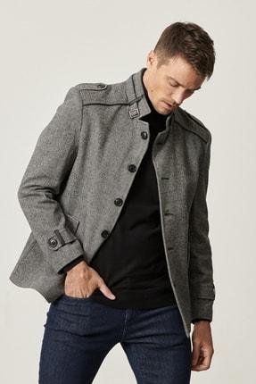 Picture of Erkek Açık Gri Ekstra Slim Fit Dik Yaka Klasik Kışlık Kaban