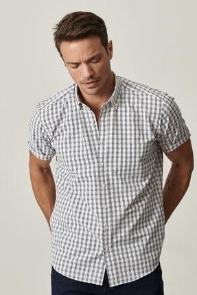 Altınyıldız Classics Erkek Beyaz-Lacivert Regular Fit Kısa Kollu Gömlek 1