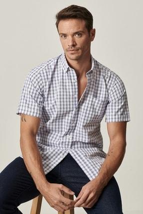 Altınyıldız Classics Erkek Beyaz-Mavi Regular Fit Kısa Kollu Gömlek 1