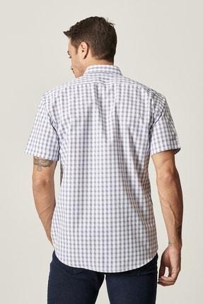 Altınyıldız Classics Erkek Beyaz-Mavi Regular Fit Kısa Kollu Gömlek 2
