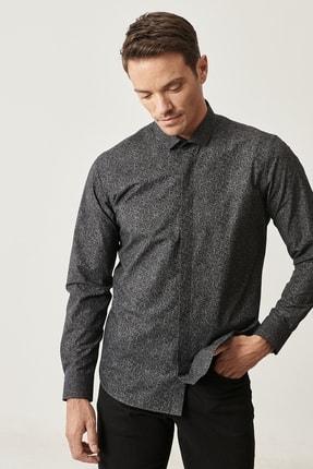 Altınyıldız Classics Erkek Siyah Tailored Slim Fit Dar Kesim Küçük İtalyan Yaka Baskılı Gömlek 1