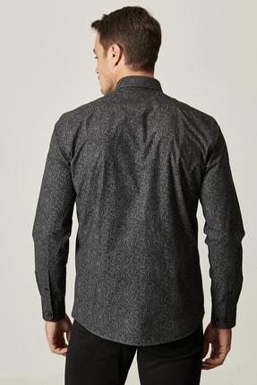 Altınyıldız Classics Erkek Siyah Tailored Slim Fit Dar Kesim Küçük İtalyan Yaka Baskılı Gömlek 3