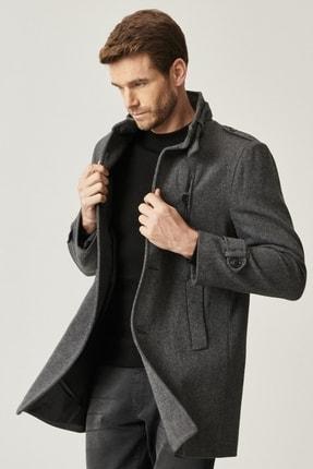 Picture of Erkek Antrasit Ekstra Slim Fit Dik Yaka Klasik Kışlık Kaban