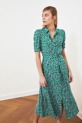 TRENDYOLMİLLA Yeşil Kuşaklı Gömlek Elbise TWOSS20EL1559 3