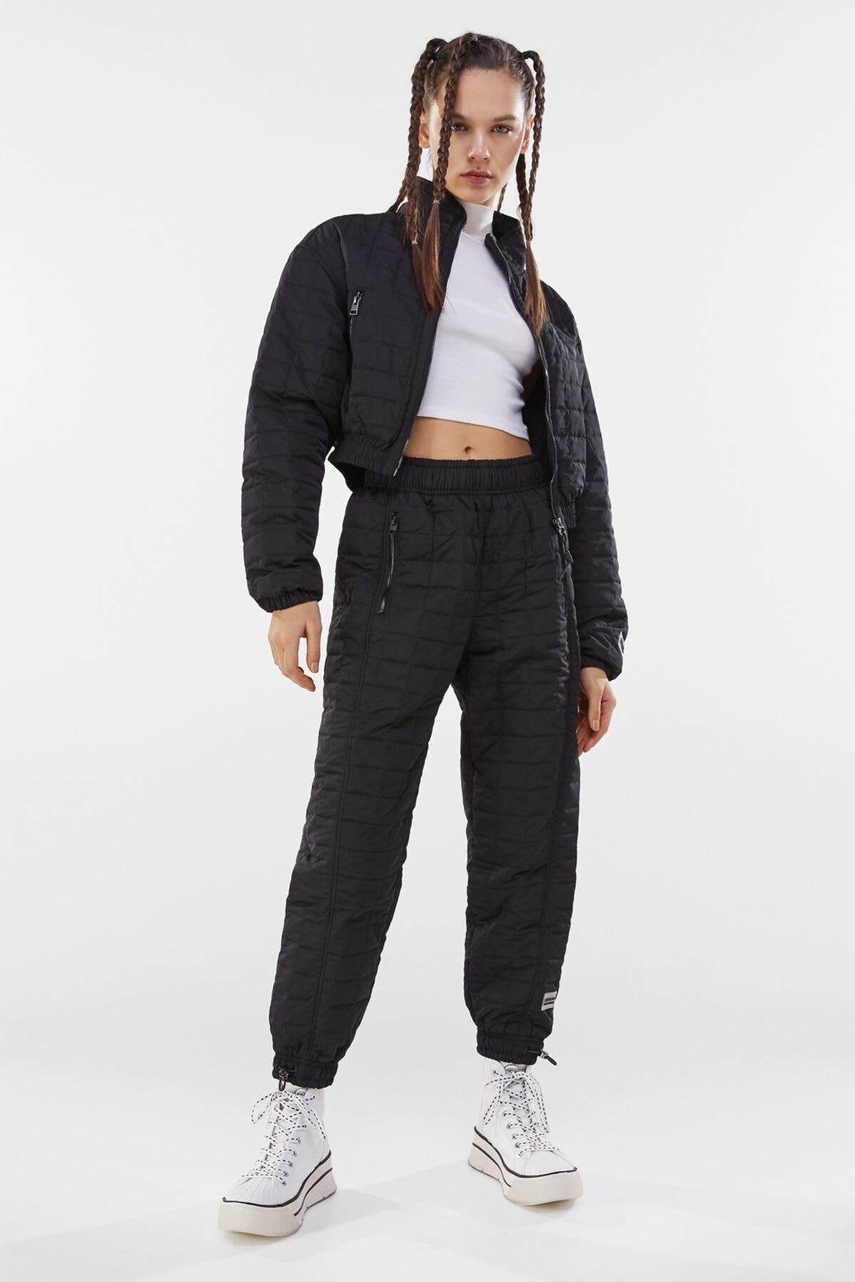 Bershka Kadın Siyah Crop Fit Kapitone Ceket 3