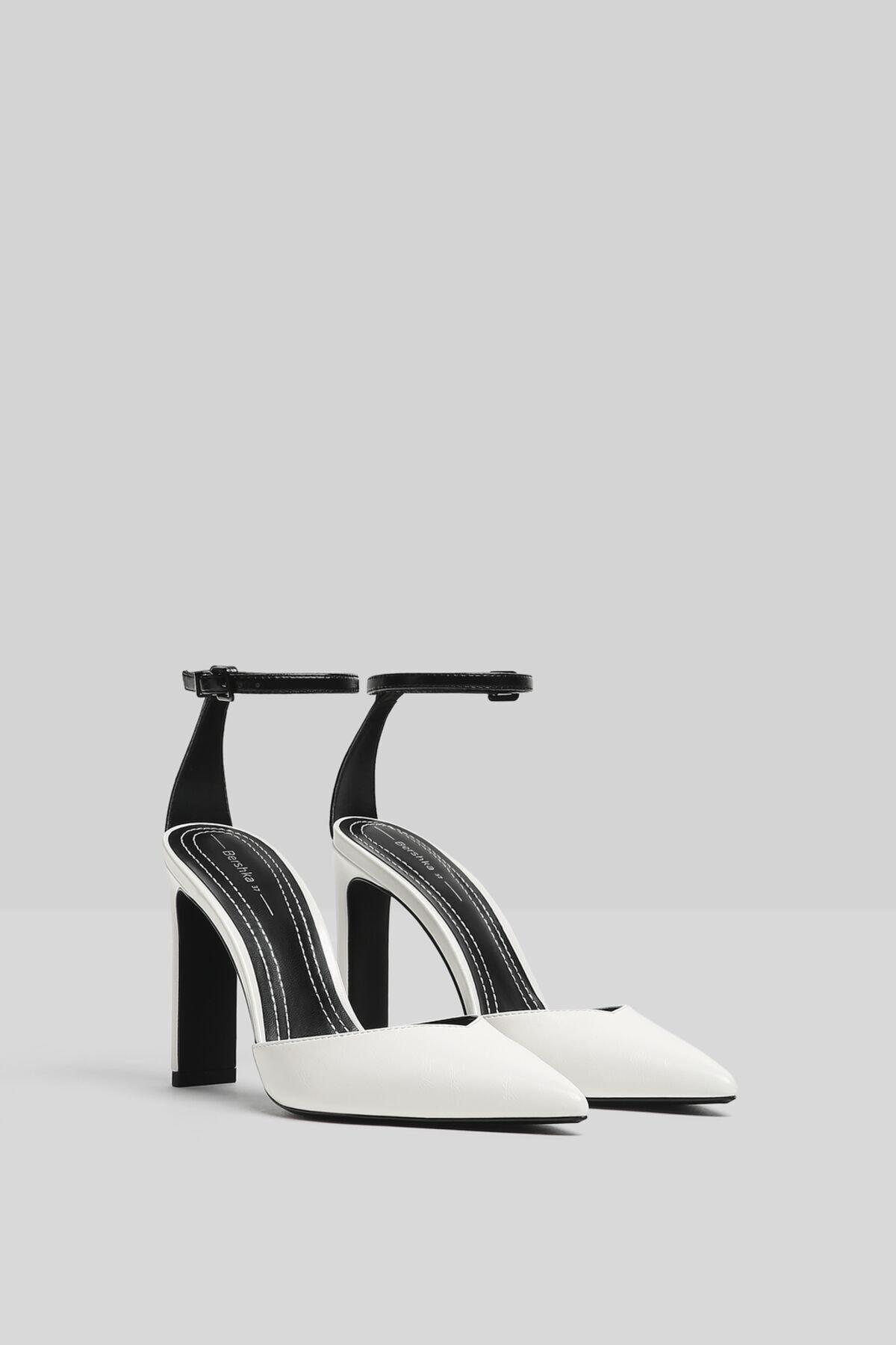 Bershka Kadın Beyaz Bilek Bantlı Topuklu Ayakkabı 11302760 2