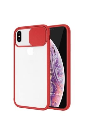 Zengin Çarşım Iphone Xs Max Uyumlu Kırmızı Kamera Lens Korumalı Sürgülü Lüx Kılıf 0