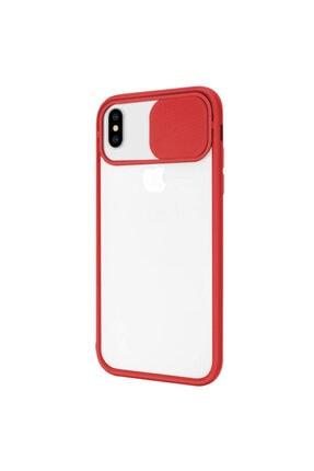 Zengin Çarşım Iphone Xs Max Uyumlu Kırmızı Kamera Lens Korumalı Sürgülü Lüx Kılıf 1