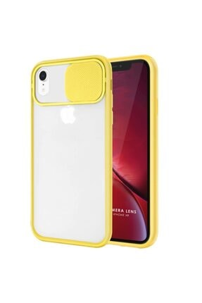 Zengin Çarşım Iphone Xr Uyumlu Kamera Lens Korumalı Sürgülü Lüx Kılıf Sarı 0