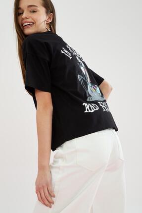 Defacto The Nightmare Before Christmas Lisanslı Oversize Tişört 0