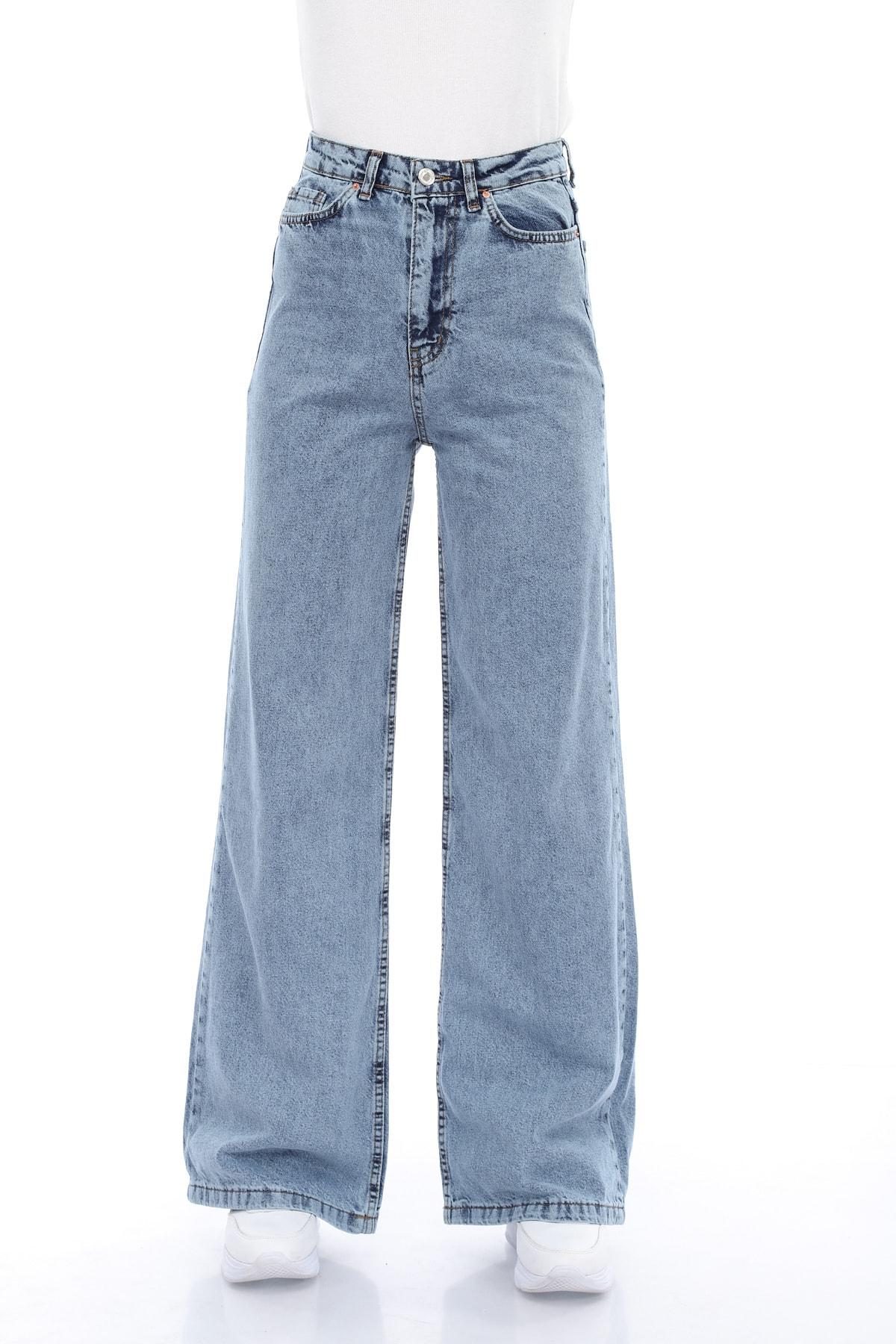 Mavi Kar Yıkama Bol Paça Jeans