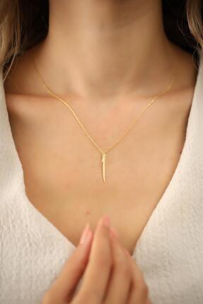 Ninova Silver Kadın Elif Model Altın Kaplama Gümüş İtalyan Kolye 1