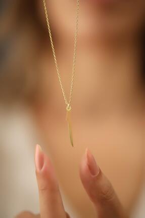 Ninova Silver Kadın Elif Model Altın Kaplama Gümüş İtalyan Kolye 4