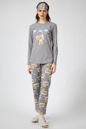 Happiness İst. Kadın Taş Grisi Uyku Bantlı Baskılı Pijama Takımı EC00026 1