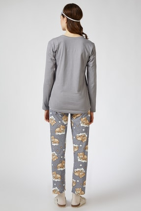 Happiness İst. Kadın Taş Grisi Uyku Bantlı Baskılı Pijama Takımı EC00026 2
