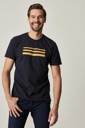 Altınyıldız Classics Erkek Lacivert Slim Fit Dar Kesim Bisiklet Yaka Baskılı Tişört 2