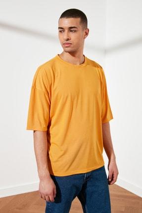 TRENDYOL MAN Turuncu Basic Erkek Oversize Bisiklet Yaka Kısa Kollu T-Shirt TMNSS21TS0811 2