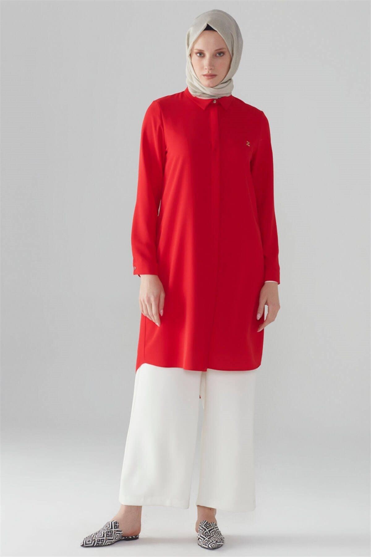 Kadın  Kırmızı  Gizli Düğme Detaylı Tunik T-0767