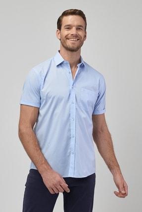 تصویر از Erkek Açık Mavi Regular Fit Kısa Kollu Gömlek