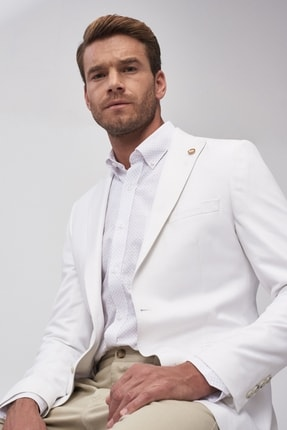 Altınyıldız Classics Erkek Beyaz Slim Fit Ceket 0