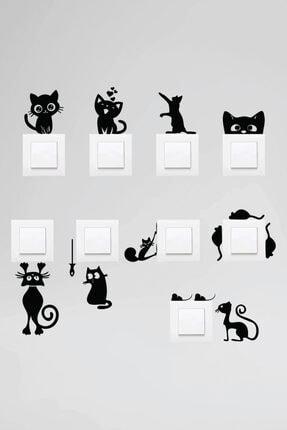 Dijitalya Priz Kedi Sticker Set Siyah Etiket  Duvar Sticker 0