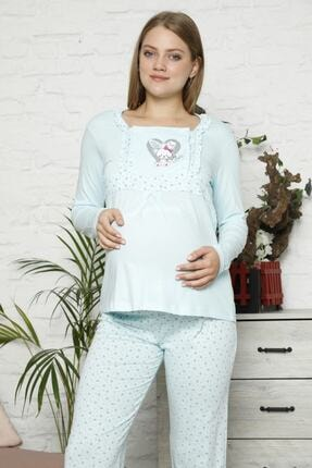 BOYRAZ Kadın Mavi Hamile Pijama Takımı Emzirmeli Uzun Kol Takım 7102 1
