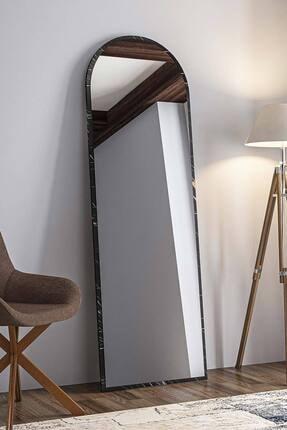 bluecape Dev Boy  Siyah Mermer Desenli Salon Ofis Mutfak Çocuk Odası Duvar Konsol Boy Aynası 180cm 1