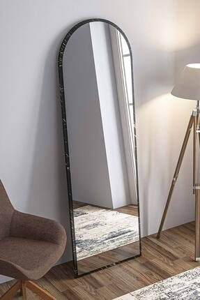bluecape Dev Boy  Siyah Mermer Desenli Salon Ofis Mutfak Çocuk Odası Duvar Konsol Boy Aynası 180cm 2