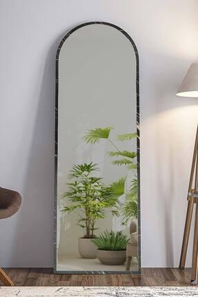 bluecape Dev Boy  Siyah Mermer Desenli Salon Ofis Mutfak Çocuk Odası Duvar Konsol Boy Aynası 180cm 3