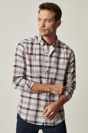 Altınyıldız Classics Erkek Antrasit-Bordo Tailored Slim Fit Düğmeli Yaka Kareli Gömlek 1